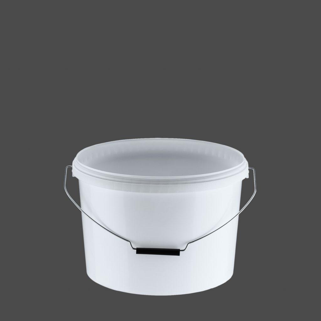 12 Liter Ovaleimer mit Deckel, weiß