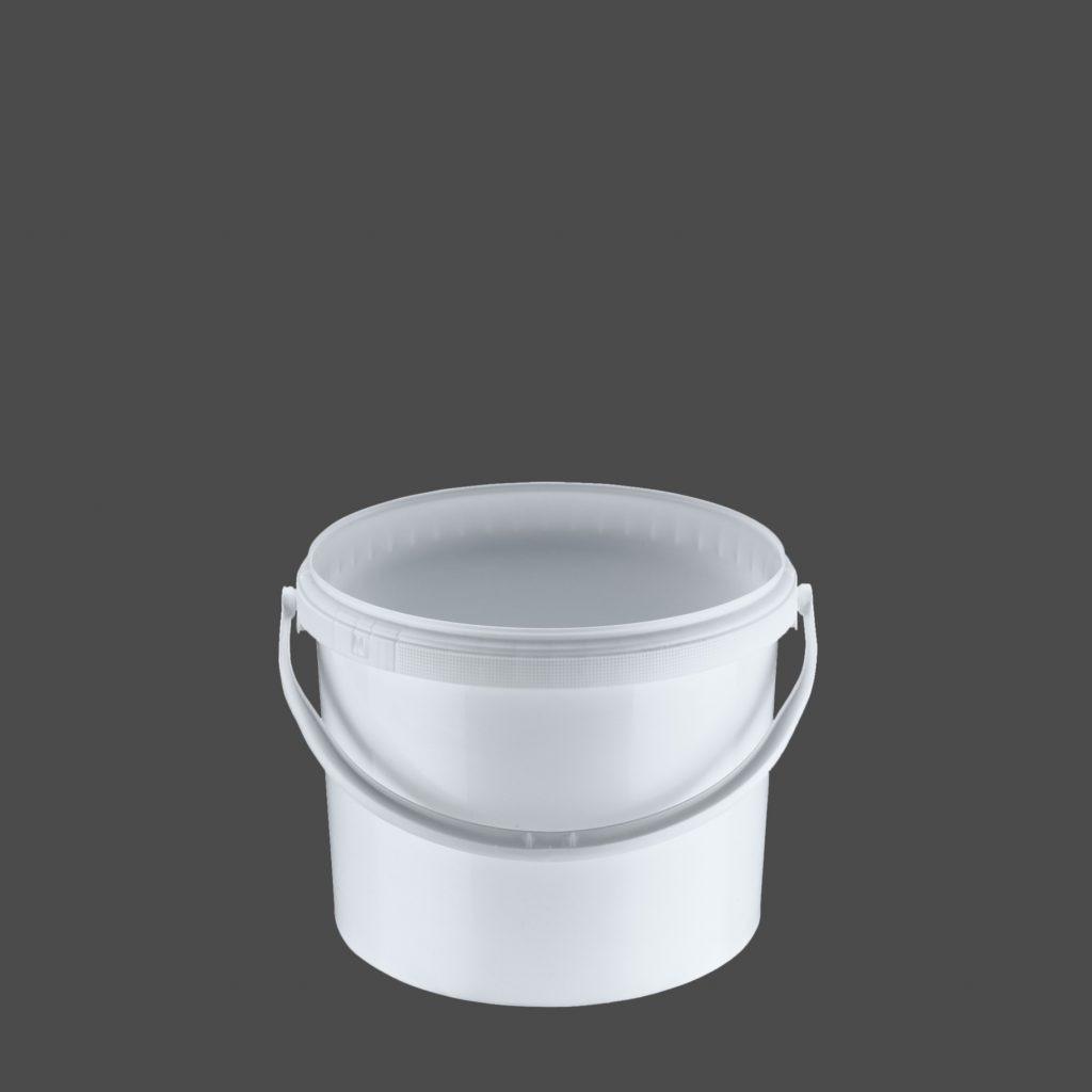 11 Liter Rundeimer mit Deckel, weiß