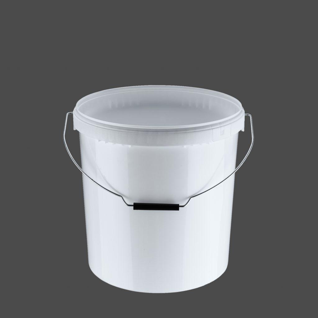 20 Liter Rundeimer Metallbügel, weiß
